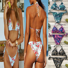 G-String Leaves Print Bikini Set Bra Thong Push up Swimwear