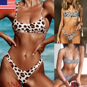 Sexy Leopard Print Push Up Padded Beach Bikini