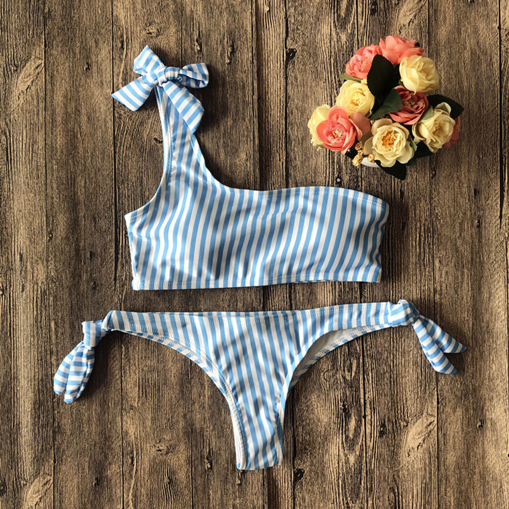 Off Shoulder Striped Swimsuit Halter Bandage Bikini Swimwear
