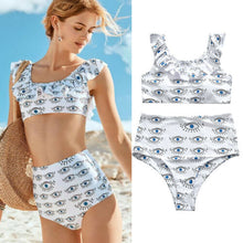 Eyes Printed Swimsuit High Waist Bathing Suit