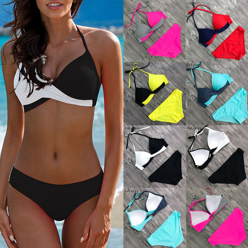Women Bandage Bikini Set Push-up Padded Triangle Swimsuit