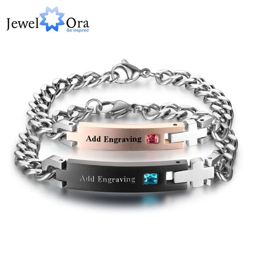 Personalized Birthstone Engrave Name Bracelet Lovers' Bracelets & Bangles Gift For Couple His Queen Her King