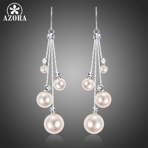Fashion Four Pearl Drop Earring for Women Female Wedding Earring White Gold Color Clear Austrian Rhinestone Jewelry