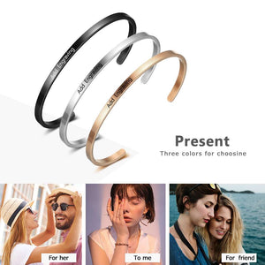 Personalized Gift Friendship Cuff Bracelets for Women Engrave Name Stainless Steel ID Bracelets & Bangles