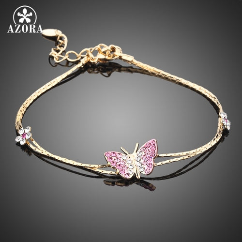 Gold Color Stellux Austrian Crystal Butterfly and Flower Charm Bracelet