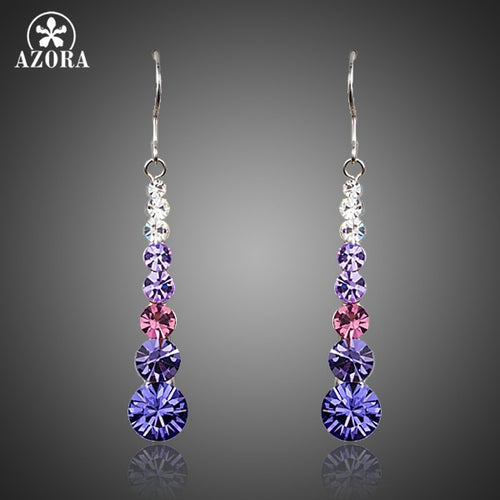Multicolour Round Stellux Austrian Crystal Wedding Drop Earrings For Women