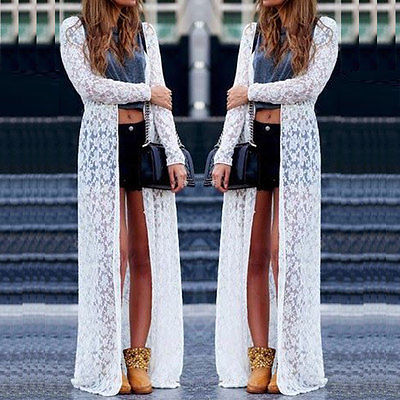 Lace Cardigan Blouse Long Tops Dress