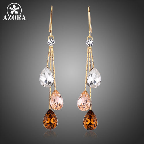 Korean Three Water Drop Dangle Earrings Multicolor Austrian Crystals Luxury Wedding Earing for Brides