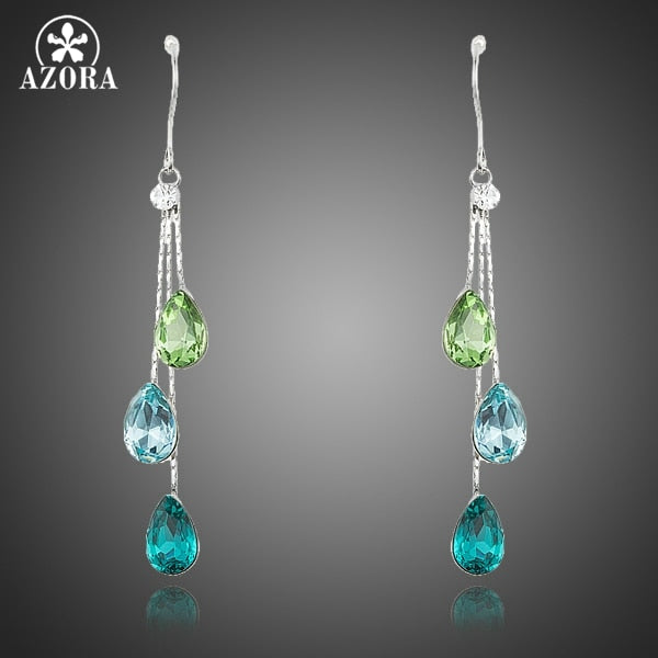 Elegant Charm Earrings for Women With 3pcs Water Drop Stellux Austrian Crystal Dangle Wedding Earrings