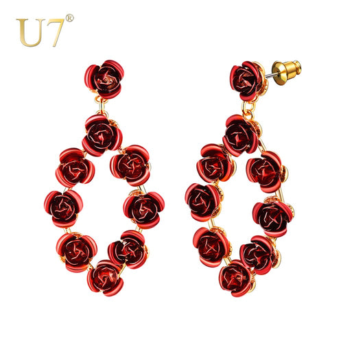 Red Rose Flowers Drop Earrings For Women Romantic Dangle Earrings with 925 Sliver Studs Gold Color Rose Jewelry Gift E1019