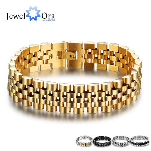 Luxury Gold Color Stainless Steel Bracelet 200mm Wristband Men Jewelry Bracelets Bangles Gift for Him
