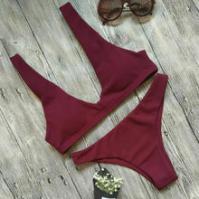 Push-up Padded Bra Solid Bikini Set Swimsuit Triangle
