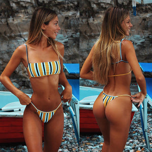 Thong Bikini Set Push Up Padded Brazilian Beachwear