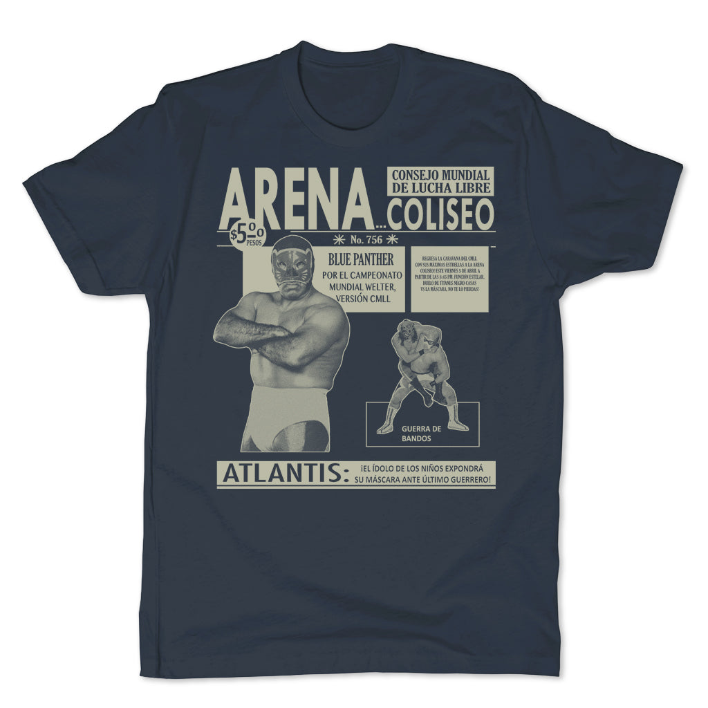 Lucha-Libre-Arena-Coliseo-Blue-Men's-T-Shirt