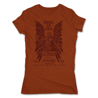 Lucha-Libre-Angel-De-Oro-Urbana-Clay-Womens-T-Shirt