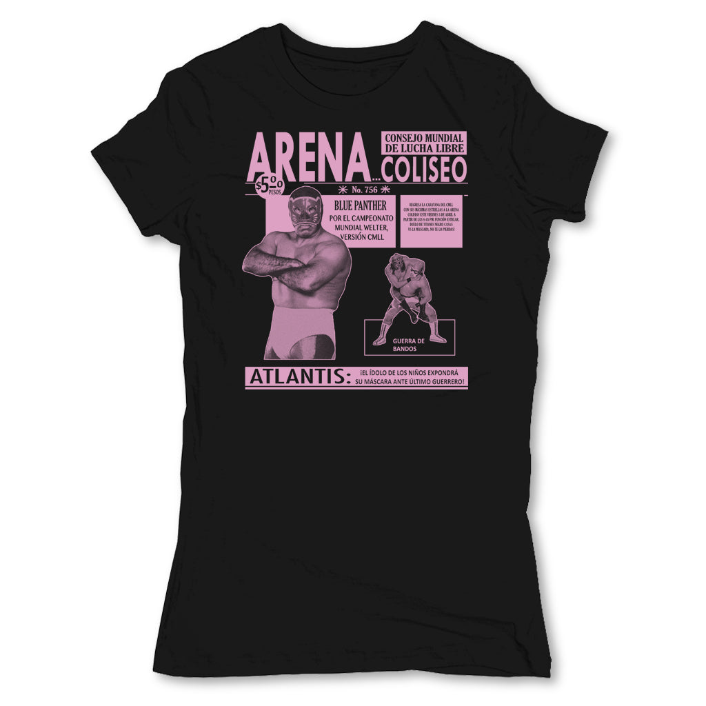 Lucha-Libre-Arena-Coliseo-Black-Womens-T-Shirt