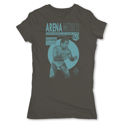 Lucha-Libre-Blue-Panther-Grey-Womens-T-Shirt