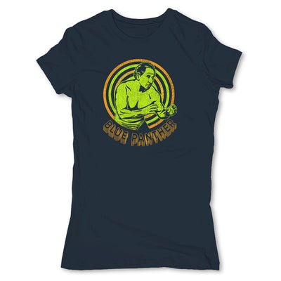 Lucha-Libre-Blue-Panther-Retro-Blue-Womens-T-Shirt