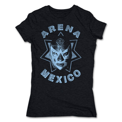 Lucha-Libre-Diamante-Azul-Estrella-Black-Womens-T-Shirt