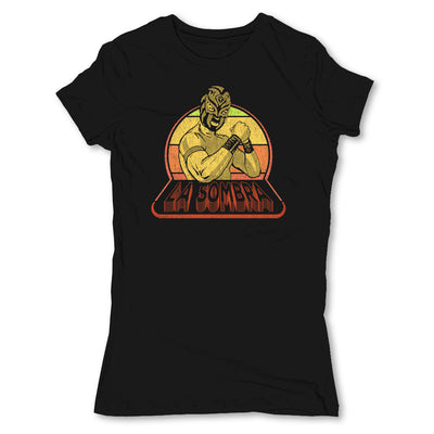 Lucha-Libre-La-Sombra-Retro-Black-Womens-T-Shirt