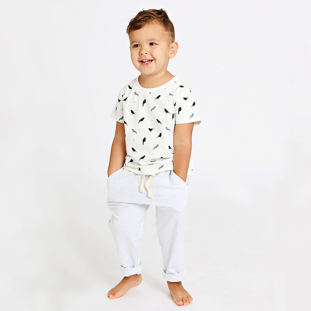 Birdie printed kids' cotton tee, gender neutral black and white bird print, perfect summer tee by Anise & Ava.