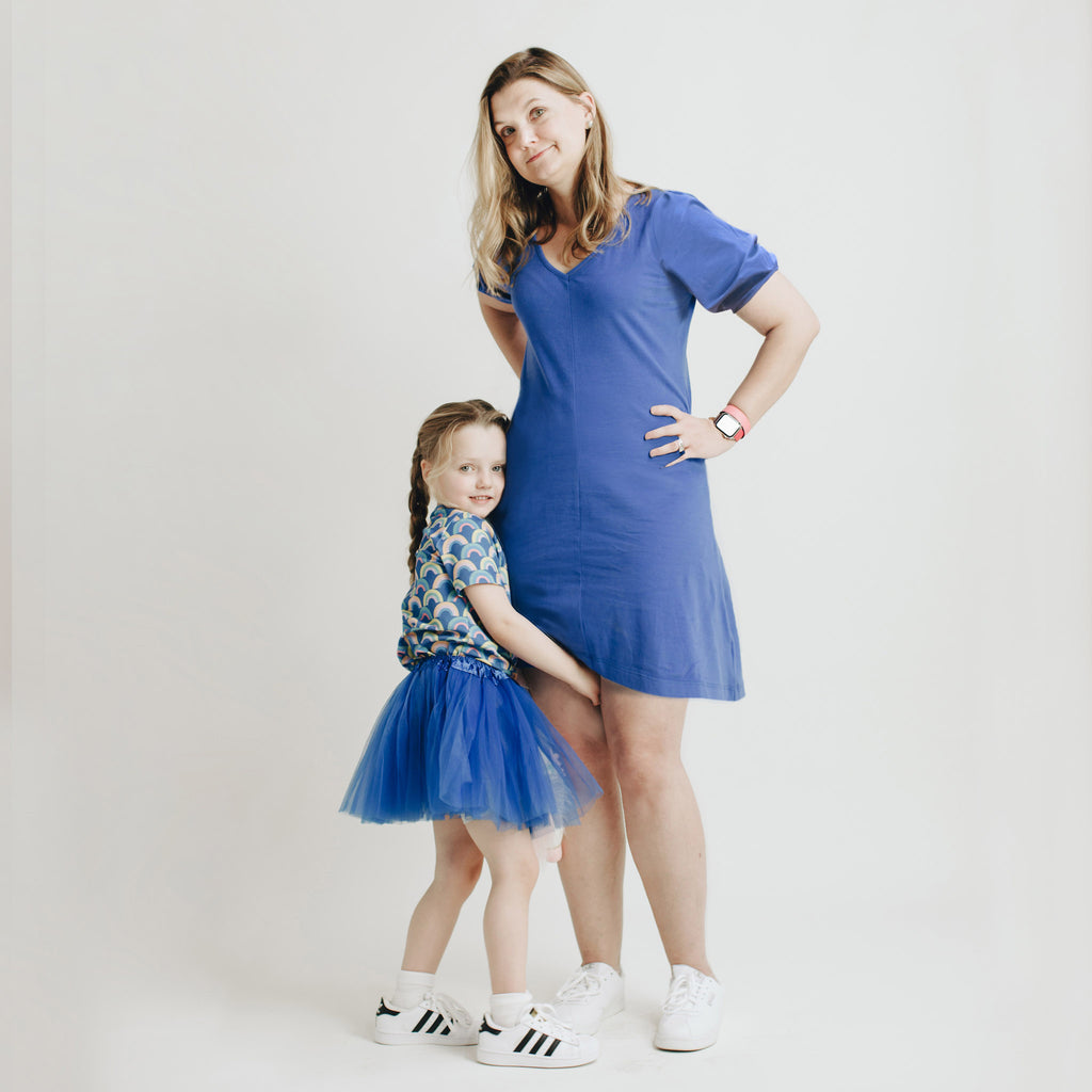 women's solid knit cobalt dress for twinning with kids' rainbow tee. Mommy & me outfits.