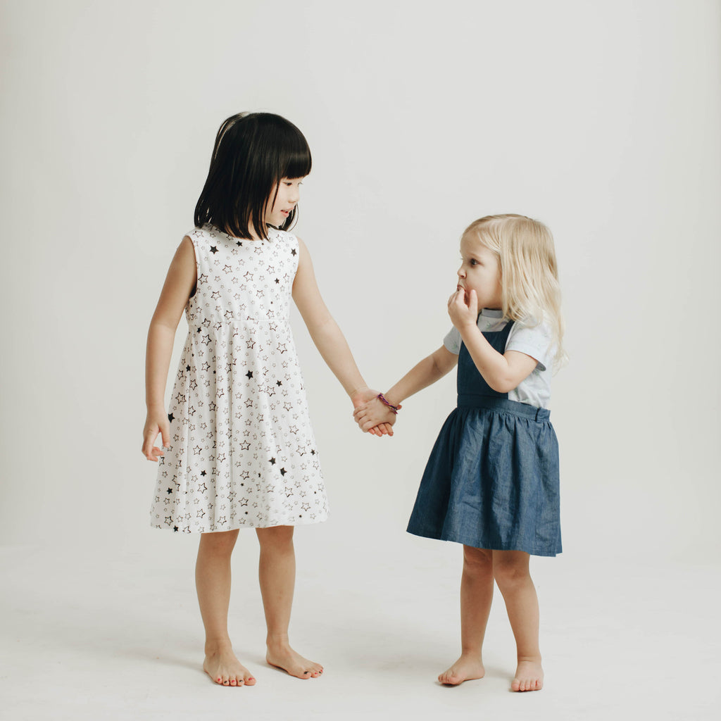 Girls' knit swirl dress in Starry print & Kids' knit tee in seahorse print with Chambray dress, to match with Mommy & me, daddy & me tees, and siblings' outfits.