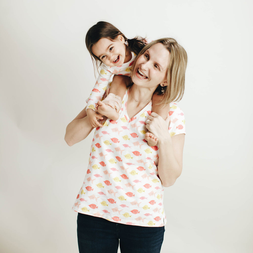 Women's knit V neck tee in Fishes print, made to match with Mommy & Me tees and baby's long john and once dress.