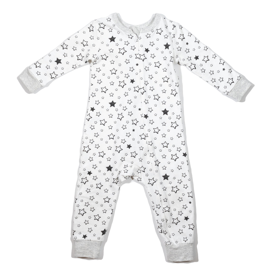 baby's knit zip front long john in Starry print, made to match with mommy & me, daddy & me, and siblings' outfits.