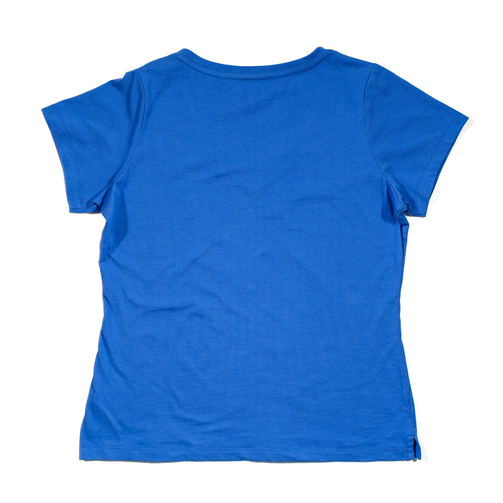 Women' knit cobalt tee back with seahorse embroidery, made to match with kids' seahorse printed tees and outfits, as well as to match Ayden men's tee.