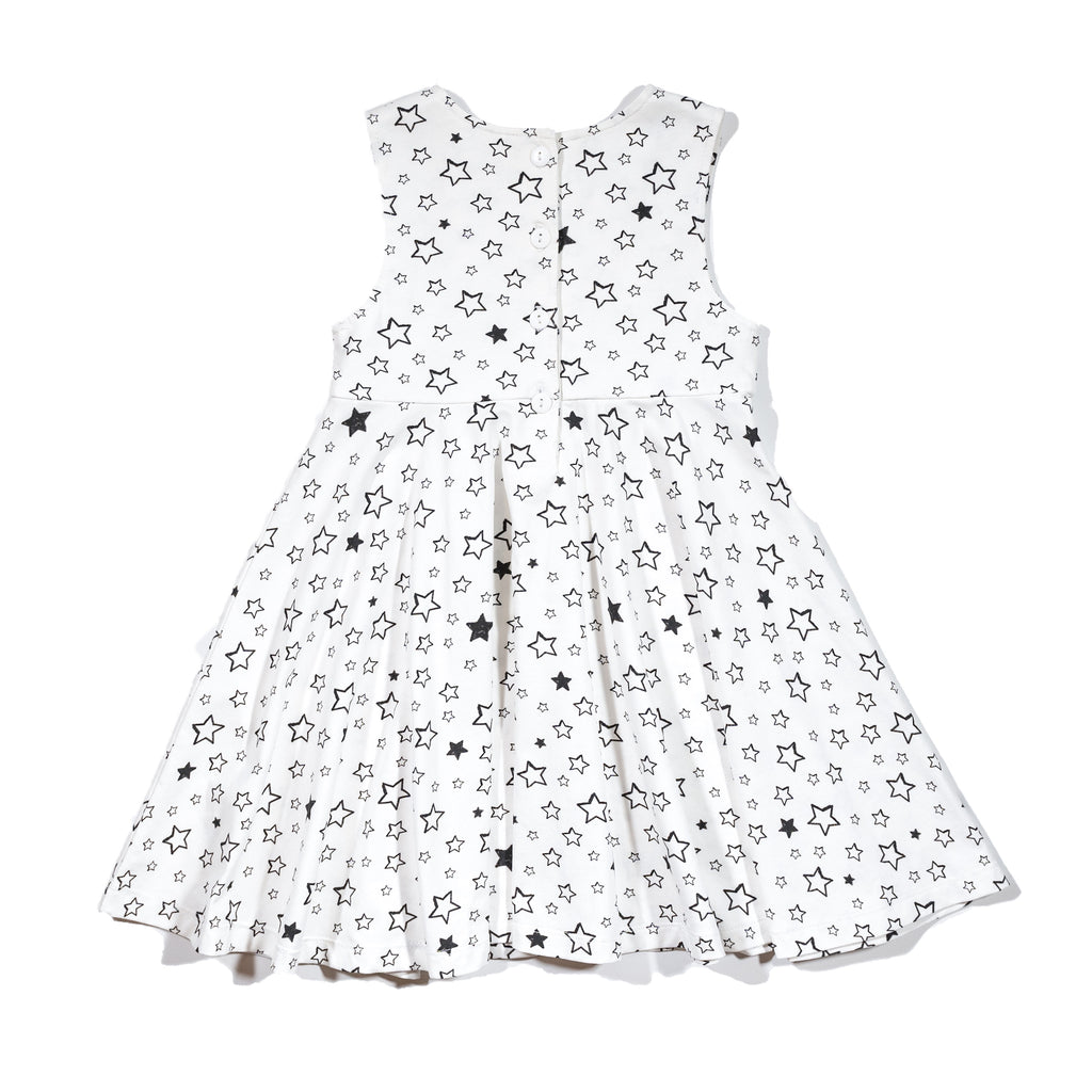 Girls' knit swirl dress back in Starry print, to match with Mommy & me, daddy & me tees, and siblings' long johns and onesie dress.