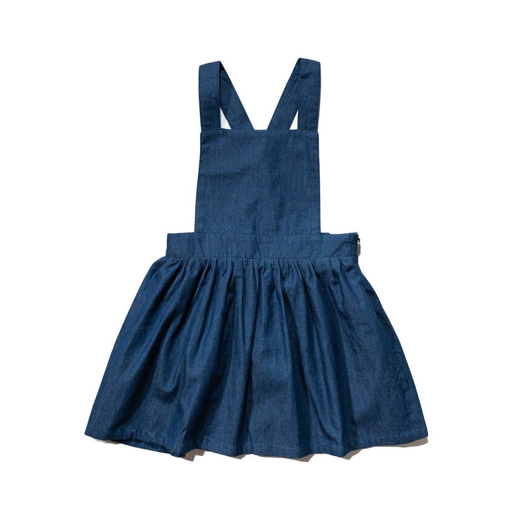 Girls' chambray jumper dress front, made to match with Mommy & me, Daddy & me, as well as siblings' chambray shirts.