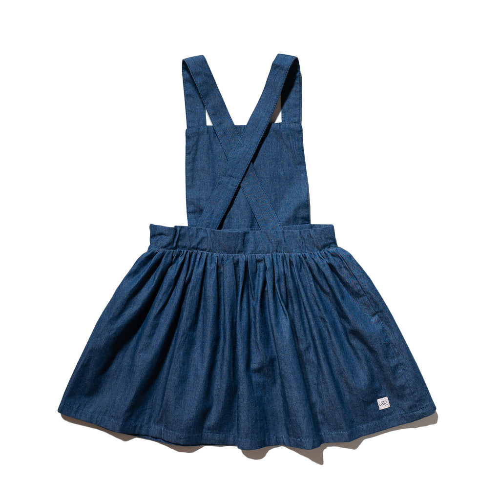 Girls' chambray jumper dress criss cross back, made to match with Mommy & me, Daddy & me, as well as siblings' chambray shirts.