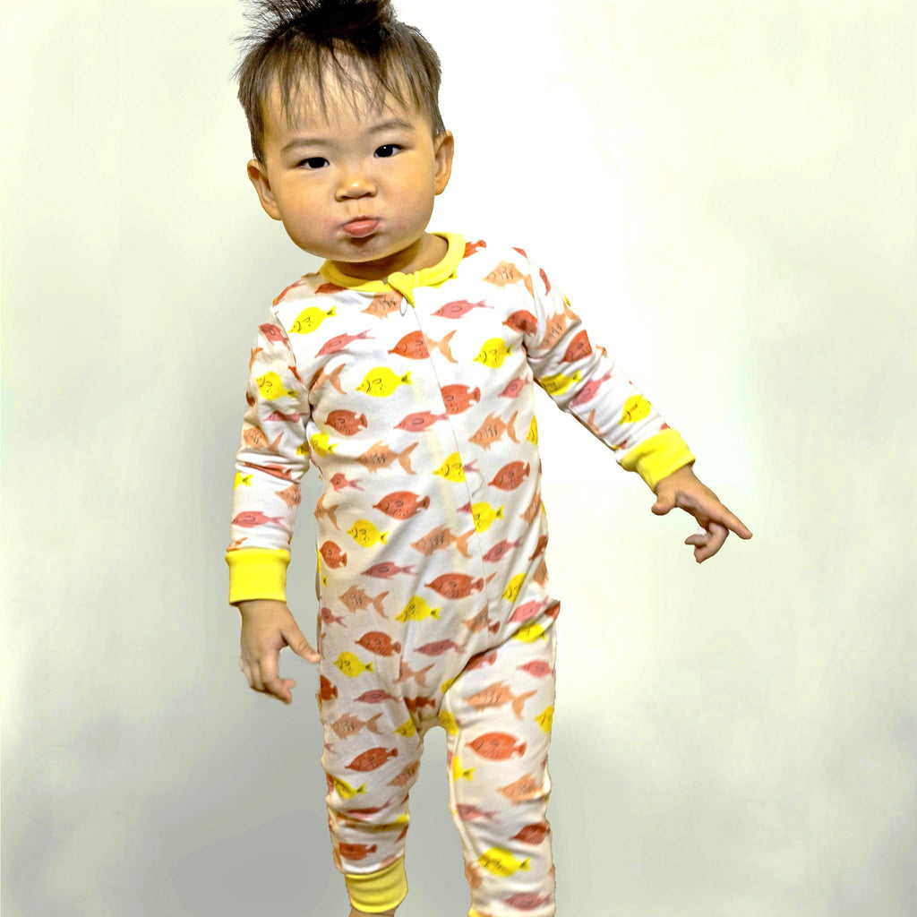 baby's knit zip front long john in Fishes print, made to match with mommy & me, daddy & me, and siblings' outfits.
