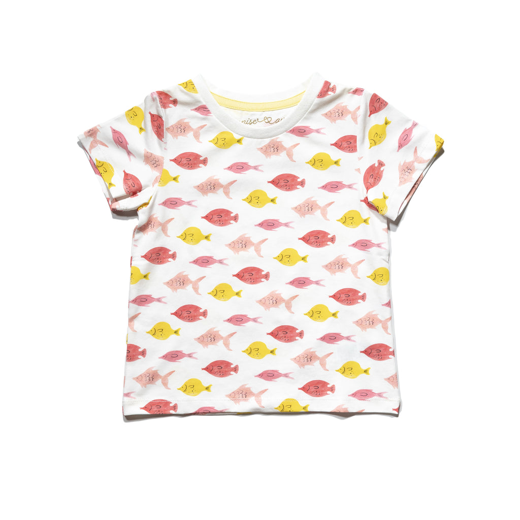kids' knit tee front in Fishes print, matching with mommy & me and daddy & me tees.