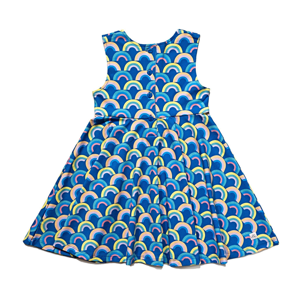 Girls' knit swirl dress back in Rainbow print, to match with Mommy & me, daddy & me, and siblings' outfits.