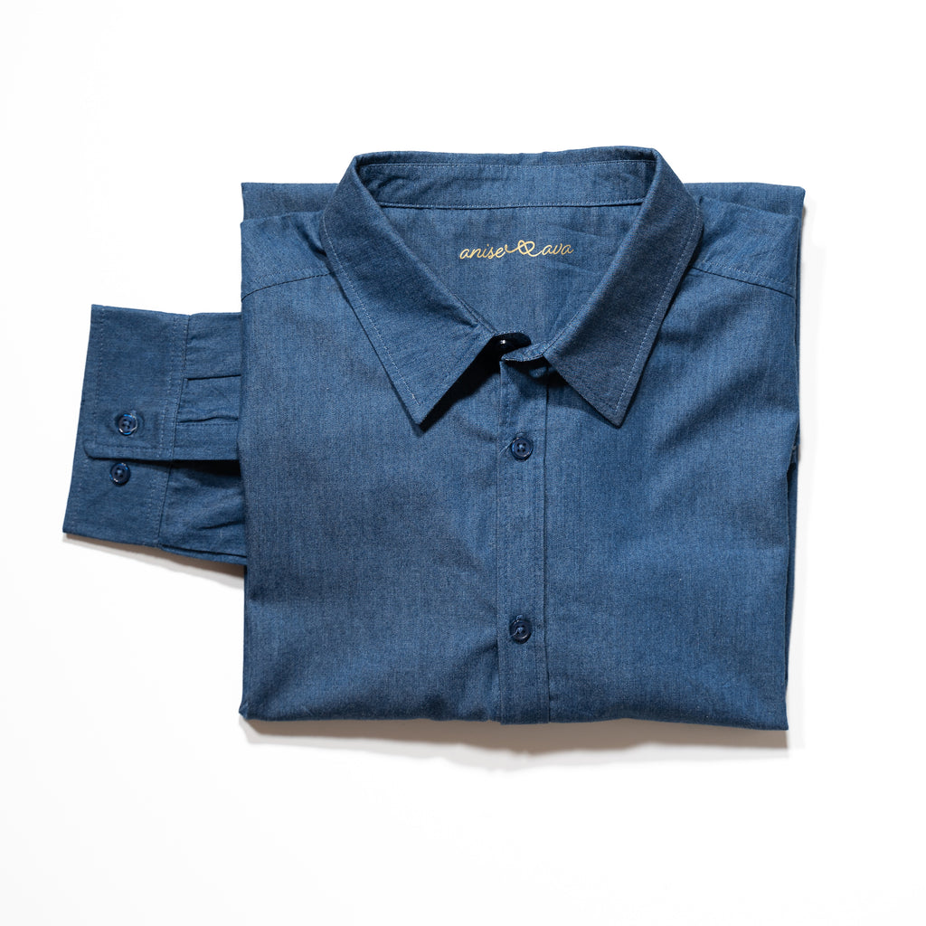 Mens' button down long sleeve chambray shirt, made to match with daddy & me boys' shirt, girls' dress, as well as women's chambray shirt.