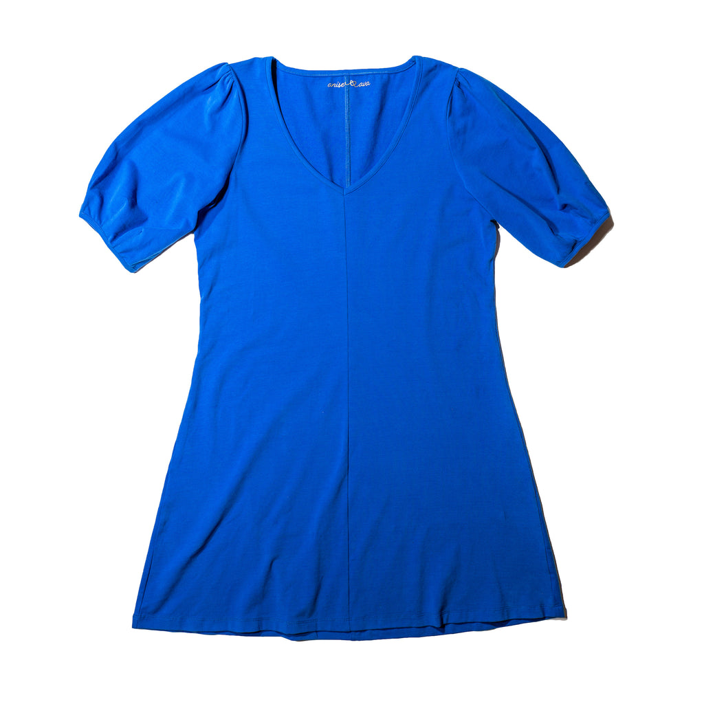 women's solid knit cobalt dress for twinning. Mommy & me outfits.