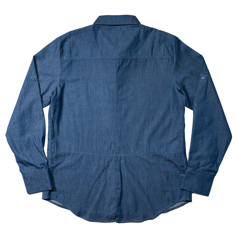 Women's chambray button down shirt with split back details, to match to kids' chambray shirt and dress, as well as men's button down chambray shirt.