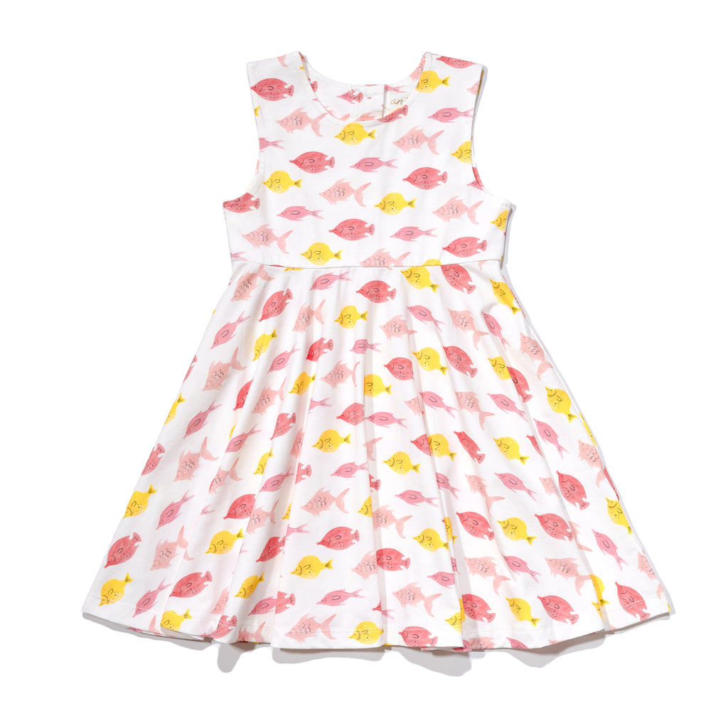 Girls' knit swirl dress front in fishes print, to match with Mommy & me, daddy & me, and siblings' outfits.