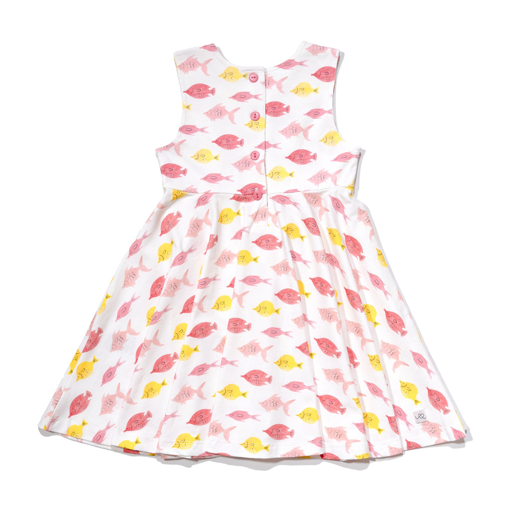 Girls' knit swirl dress back in fishes print, to match with Mommy & me, daddy & me, and siblings' outfits.
