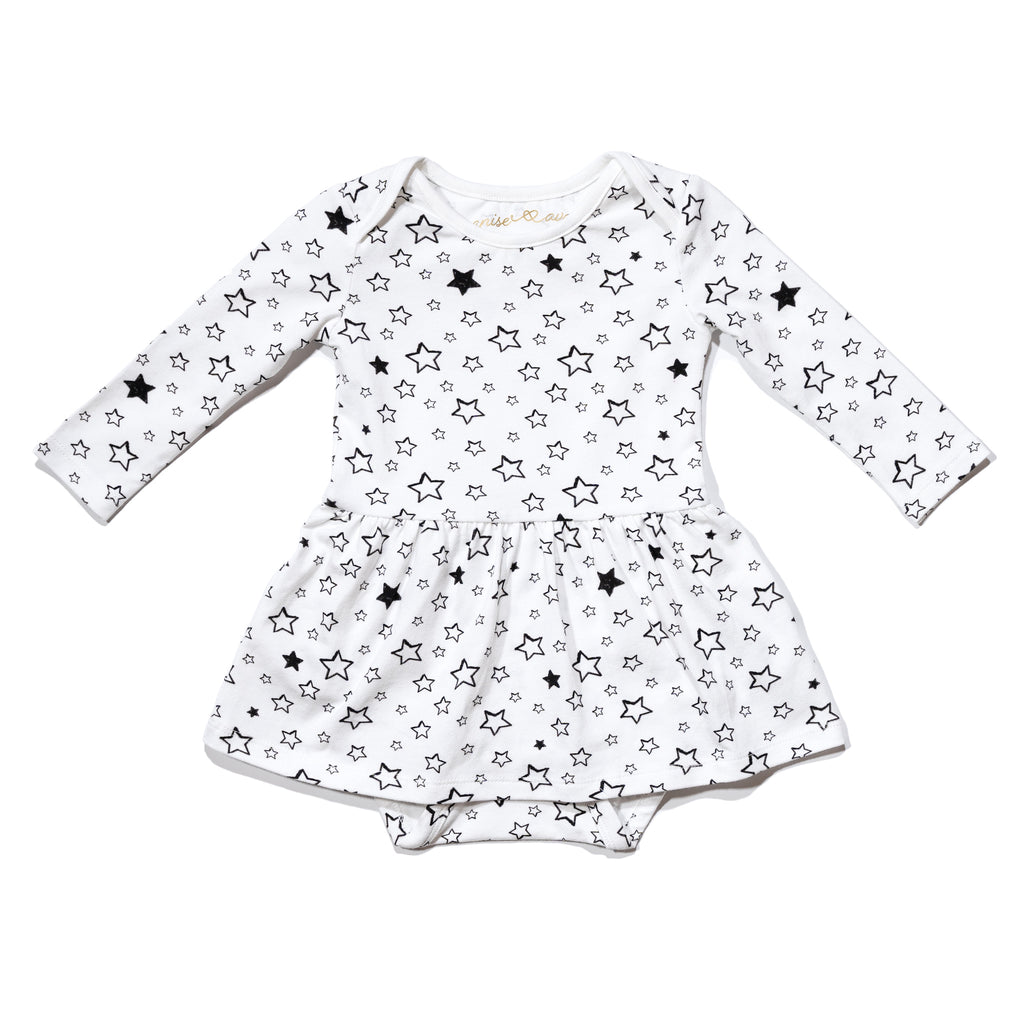 Baby's Isabelle onesie dress front in Starry, to match with mommy & me and daddy & me tees.