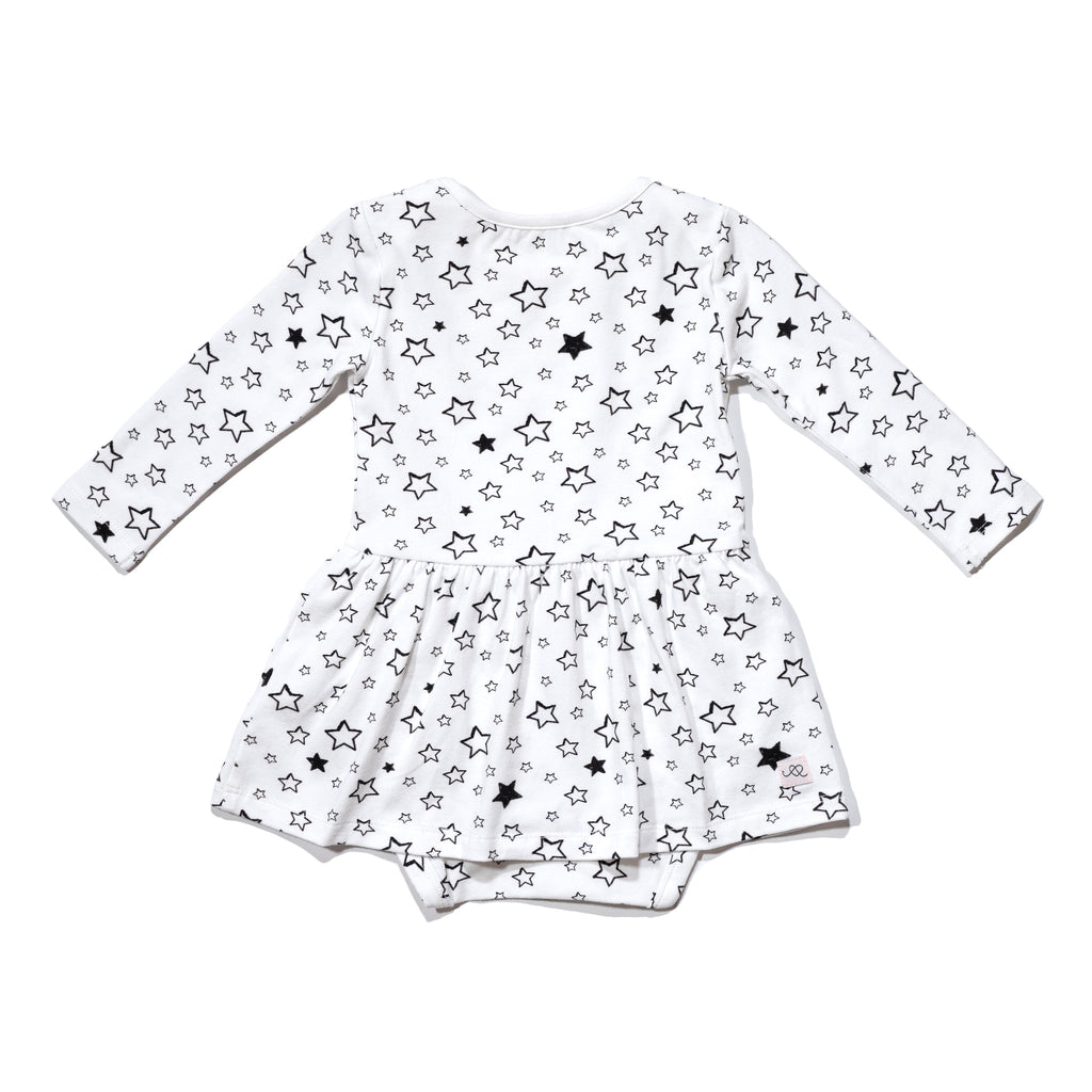 Baby's Isabelle onesie dress back in Starry back, to match with mommy & me and daddy & me tees.