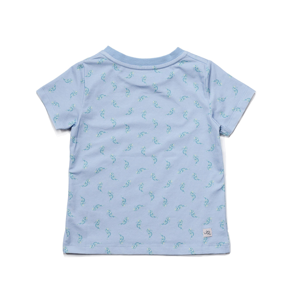 Seahorse printed kids' tee, with a fun, colorful, gender neutral print, to twin match with siblings and the entire family, by Anise & Ava.