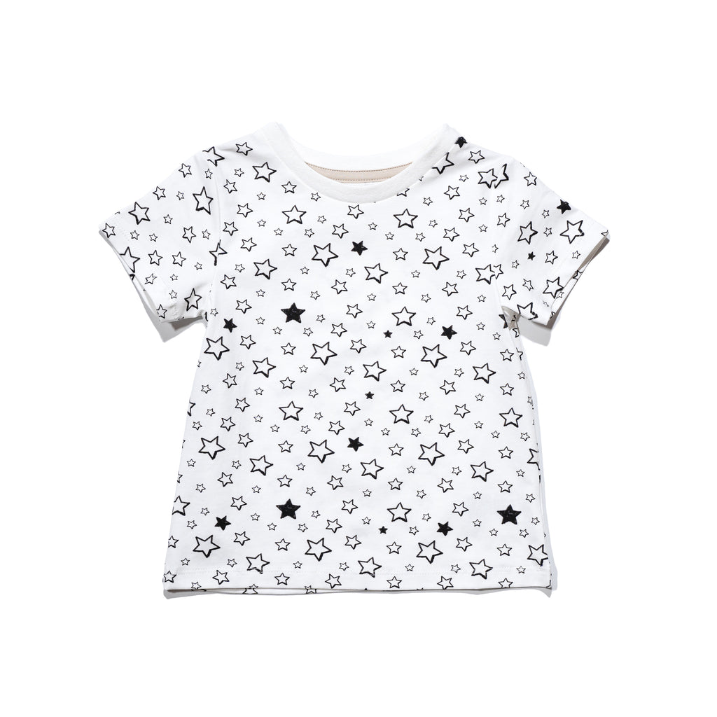 kids' knit tee front in Starry print, matching with mommy & me and daddy & me tees, as well as siblings outfits.