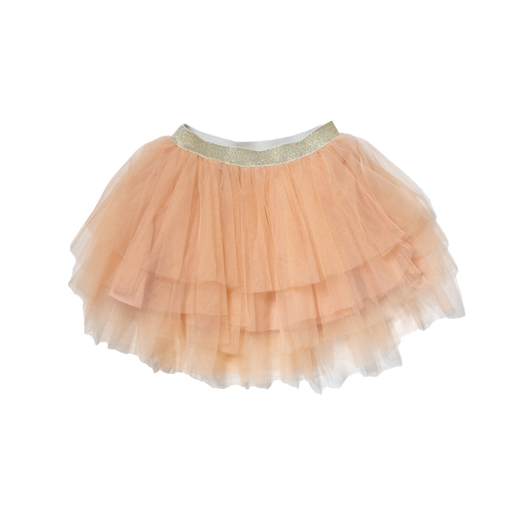 Solid tutu in blush with metallic gold waistband. Perfect bottom to our gender neutral printed tee to dress up and twin with siblings and rest of family by Anise & Ava.