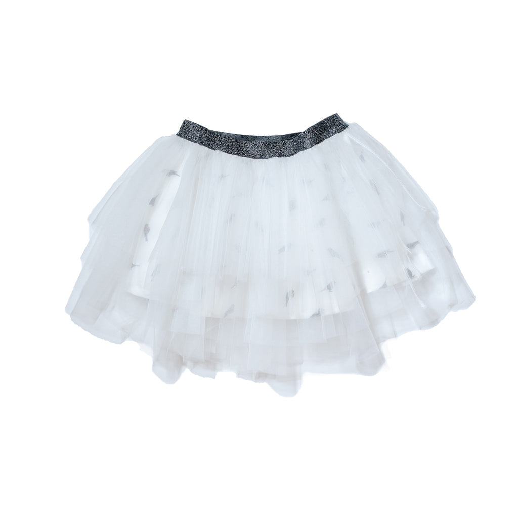Solid tutu in white and printed birdie lining with metallic black waistband. Perfect bottom to our gender neutral printed tee to dress up and twin with siblings and rest of family by Anise & Ava.