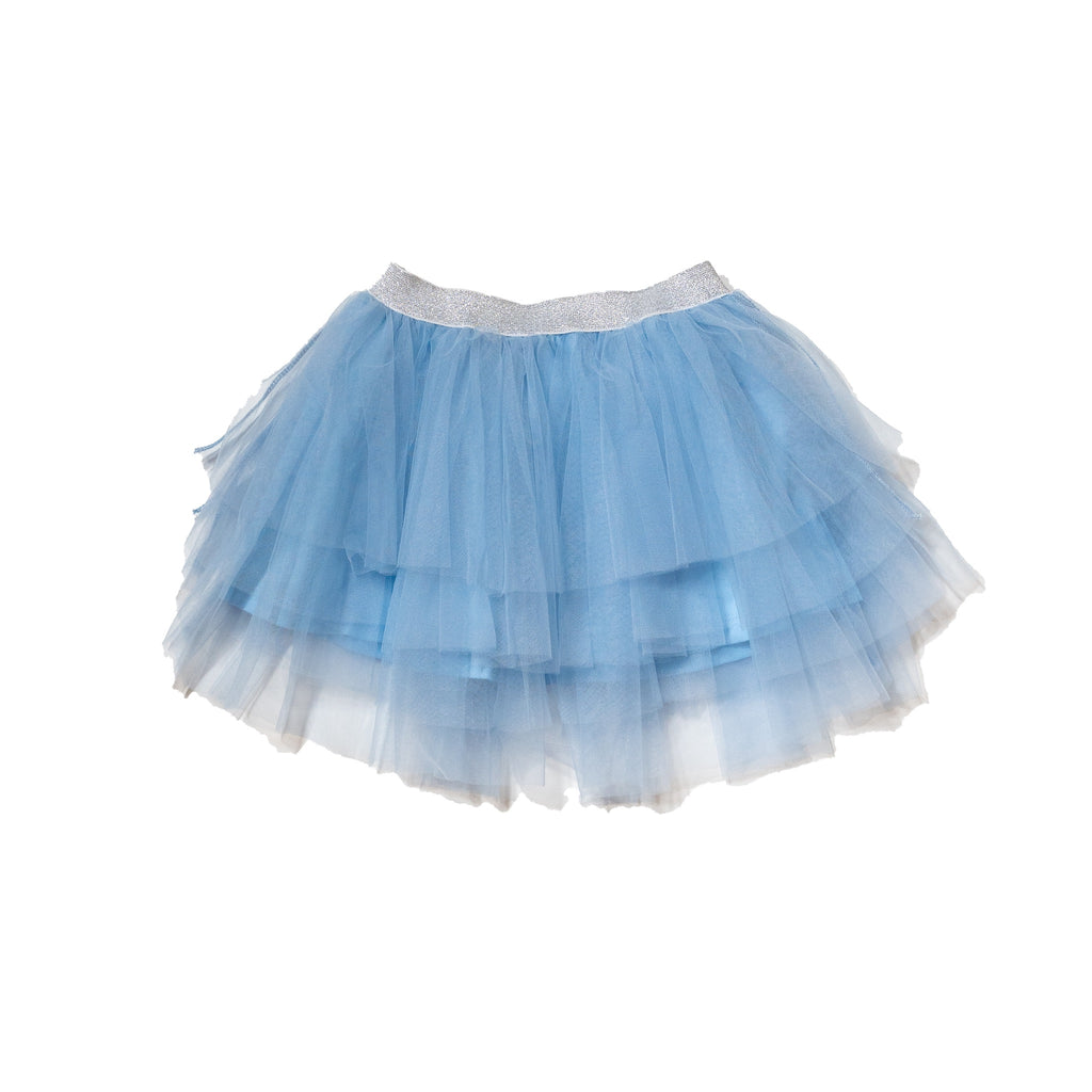 Solid tutu in chambray with metallic silver waistband. Perfect bottom to our gender neutral printed tee to dress up and twin with siblings and rest of family by Anise & Ava.