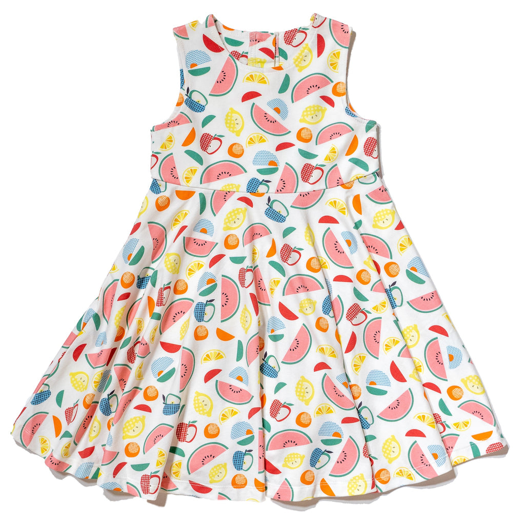 Artsy Tropical printed cotton dress for girls 2T- 6T, colorful gender neutral print to twin with siblings, perfect spring & summer dress by Anise & Ava.