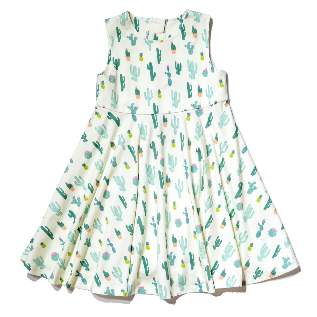 Cactus printed cotton dress for girls 2T- 6T, colorful gender neutral print to twin with siblings, perfect spring & summer dress by Anise & Ava.